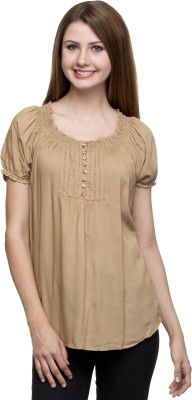 One Femme Party, Formal Short Sleeve Solid Women,s Brown Top