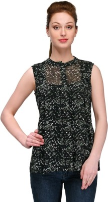 Pique Republic Casual Sleeveless Animal Print Women's Black Top