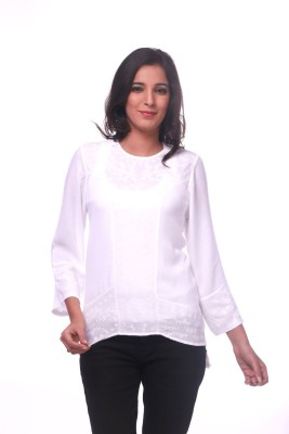 La Divyyu Party Full Sleeve Embroidered Women's White Top