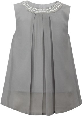 The Cranberry Club Party Sleeveless Embroidered Girl's Grey Top