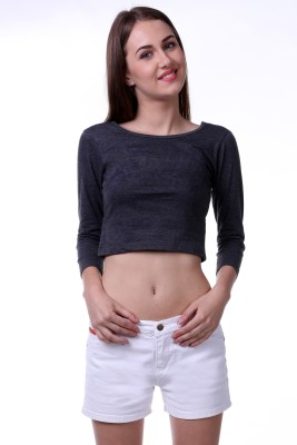 Vogue Centric Casual 3/4 Sleeve Solid Women's Grey Top