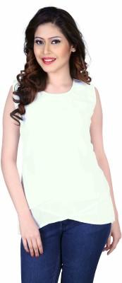 Aasvaa Casual Sleeveless Solid Women's White Top