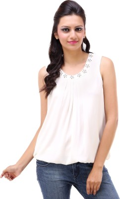 Kashana Fashions Casual Sleeveless Solid Women's White Top