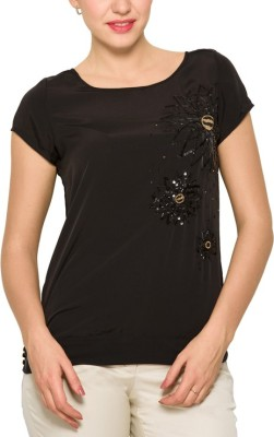 Park Avenue Formal Balloon Sleeve Solid Women's Black Top