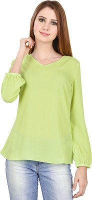 LA ATTIRE Casual Full Sleeve Solid Women's Light Green Top
