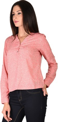Curvy Q Casual Full Sleeve Printed Women's Pink Top