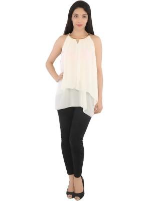 Tenn Casual Sleeveless Solid Women's Beige Top