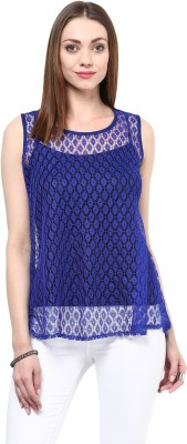 shwetna Casual Sleeveless Solid Girl,s Blue Top