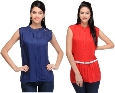 Abhinav Fashion Casual Sleeveless Solid Women's Blue, Red Top
