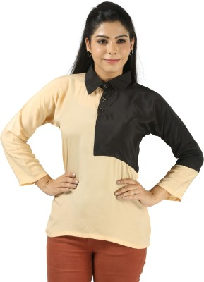 Vuvea Party Full Sleeve Solid Women's Beige, Black Top
