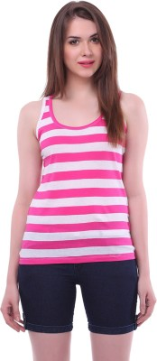 Colors Couture Casual Sleeveless Striped Women's Pink Top