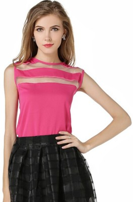 Indicot Casual, Party, Formal Sleeveless Solid Women's Pink Top