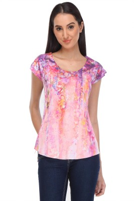 Rose Taylor Casual Short Sleeve Printed Women's Multicolor Top