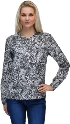Curvy Q Casual Full Sleeve Printed Women's Black, White Top