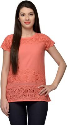 Vemero Formal Short Sleeve Self Design Women's Orange Top