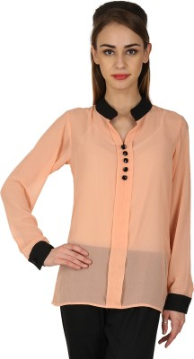 Natty India Casual Full Sleeve Solid Women's Beige Top