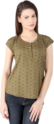 pinklady Casual Short Sleeve Printed Women's Green Top