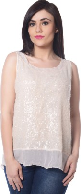 Trendy Divva Party Sleeveless Embellished Women's Beige Top