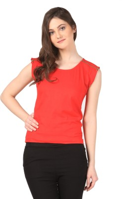 FashionExpo Casual Sleeveless Solid Women's Red Top