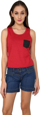 99Hunts Casual Sleeveless Solid Women's Red Top