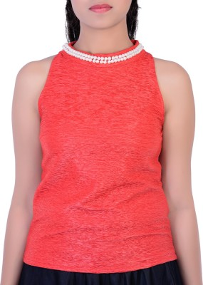 Divaz Fashion Party, Festive Sleeveless Solid Women's Red Top