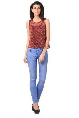 Sei Bello Casual Sleeveless Printed Women's Maroon Top