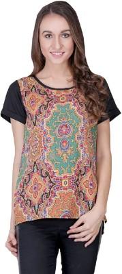 Shiks Vogue Casual Short Sleeve Printed Women's Multicolor Top