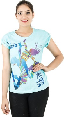 Opiumstreet Casual Roll-up Sleeve Printed Women's Light Blue Top