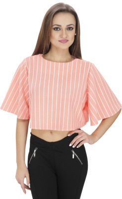 Svt Ada Collections Casual Bell Sleeve Striped Women's Orange Top