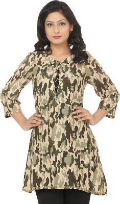 Adhaans Casual 3/4 Sleeve Printed Women's Green Top
