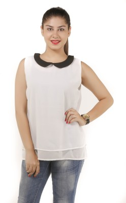 Lady Stark Formal Sleeveless Solid Women's White Top