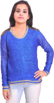 Krazzy Collection Casual Full Sleeve Self Design Women's Blue Top