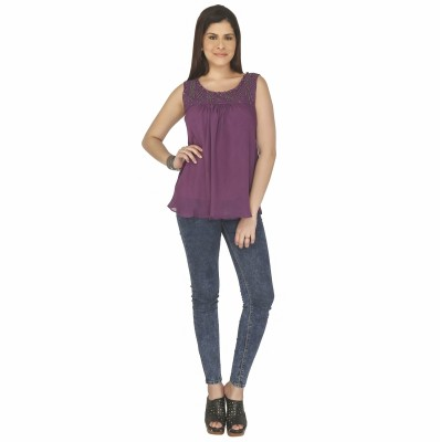 Free Spirited Casual Sleeveless Solid Women's Purple Top