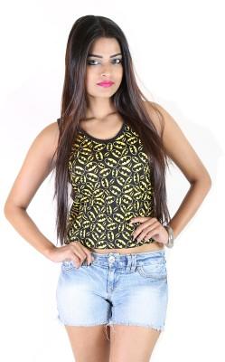 fashion fakir Casual Sleeveless Printed Women's Black Top