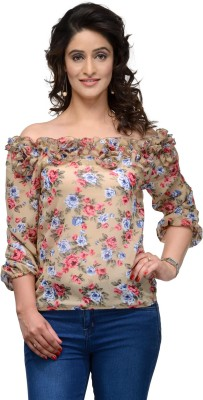 Vemero Clothings Party Balloon Sleeve Floral Print Women's Beige Top