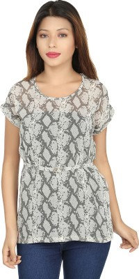 Chloe Casual Short Sleeve Printed Women,s Grey, White Top