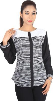 Jiyami Creations Party 3/4 Sleeve Printed Girl's Black, White Top