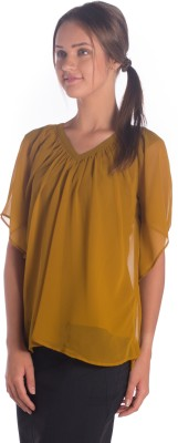 Miss Rich Casual Short Sleeve Solid Women's Yellow Top