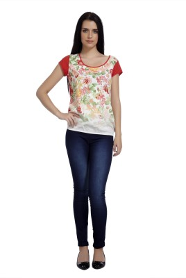 Mineral Casual Short Sleeve Floral Print Women's Orange Top