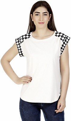 Gudi Party Cape Sleeve Embellished Women's White Top