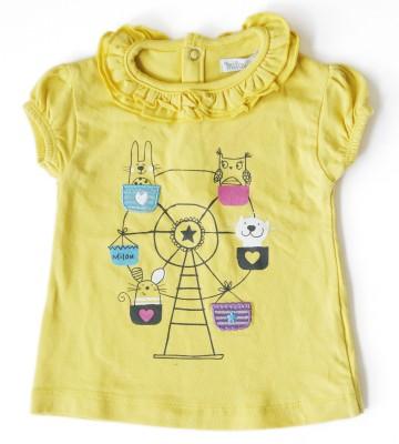 Milou Casual Short Sleeve Self Design Baby Girl's Yellow Top