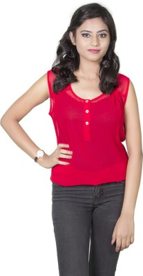 Dewberries Casual Sleeveless Solid Women's Red Top