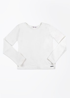 Nauti Nati Casual Full Sleeve Solid Girl's White Top