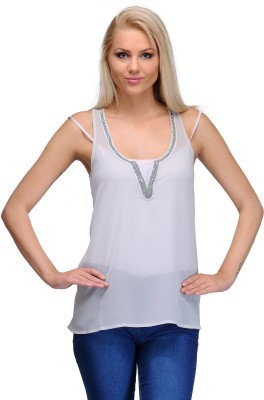 Curvy Q Casual Sleeveless Solid Women's White, Silver Top