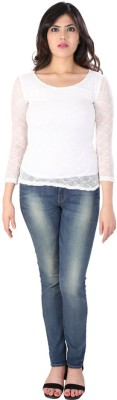 Dovekie Casual Full Sleeve Self Design Women's White Top