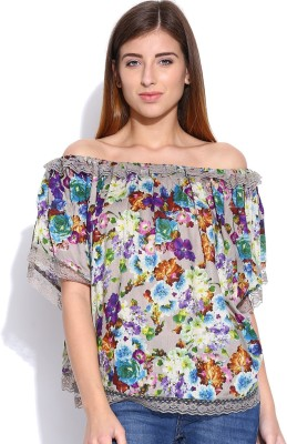 Envy Me Casual Cape Sleeve Printed Women,s Blue, Purple Top