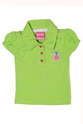 Littke Kangaroos Casual Cap sleeve Solid Baby Girl's Green Top