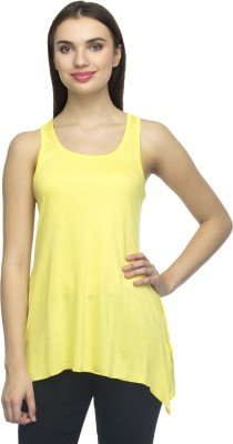 Bantry Casual Sleeveless Solid Women's Yellow Top