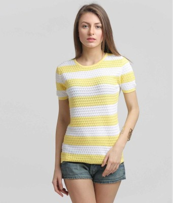 Moda Elementi Casual Short Sleeve Self Design Women's Yellow Top