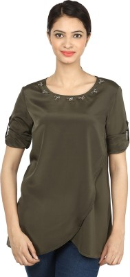 Charisma Casual 3/4 Sleeve Solid Women's Grey Top